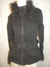 TRIPP BLACK FUR BELTED MOTO JACKET  NEW, GOTHIC ROCK HOT TOPIC JR. SIZE  LARGE.