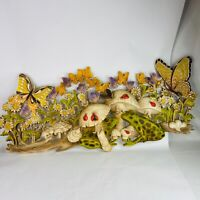 Vintage 1971 Burwood 0161 Mushroom Butterfly Frogs Daisies Wall Hanging 39 X 17