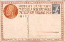 SUISSE - ENTIER POSTAL ILLUSTRE - CARTE DE LA FETE NATIONALE 1918 - NEUVE.