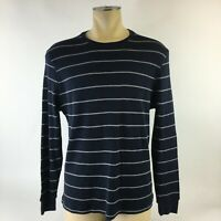 Banana Republic Long-Sleeve Fitted Crew-Neck Striped Blue Mens XL Cotton T-Shirt