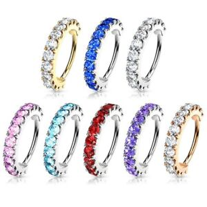 BENDABLE CZ LINED NOSE CARTILAGE DAITH RING HOOP BRASS PIERCING JEWELRY 20G-16G
