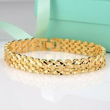 "Charm Bracelet NEW Style 18K Yellow Gold Filled 11mm Chain 8"" Link Hot Jewelry"
