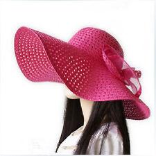 Dark Pink Summer Ladies Sun Straw Hat Large Wide Brim Floppy Beach Bohemia