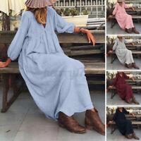 ZANZEA UK Womens Long Puff Sleeve Casual Loose Kaftan Maxi Dress Cotton Sundress