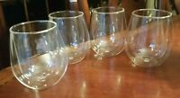 Stemless Double Wall Wine Glasses Hand Blown (Set of 4) Acid Marked