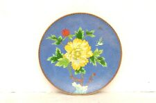 """Antique Chinese Charger Enamel Copper Flowers w Birds 8.25"""" plate BLUE ASIAN"""