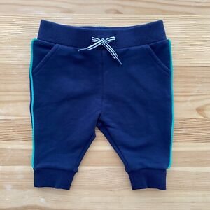 NWOT JANIE AND JACK Blue Lounge Pants Green Side Stripe Size 0-3 Months