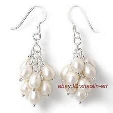 blanc,perles de culture, raisin balancez, boucle d'oreille