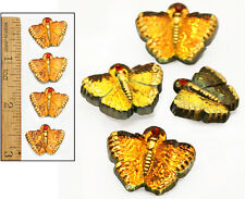 20mm Vintage Czech Mirror Back GLOWING FIRE AB BUTTERFLY w/Rhinestone Buttons 4p