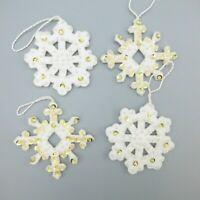 Vintage Bucilla Sequin Felt Snowflake Christmas Ornaments Jeweled Applique 4 pcs