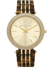 Michael Kors Ladies Darci GoldTone Stainless Steel / Tortoise Band Watch Mk4326