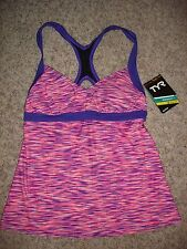 NWT TYR Durafast Lite women's 8 pink/purple tankini top bathing suit swimming