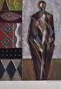 Lee Phillips Original Fine Art Oscar Artist $700. Red, Black, Gold, Statue, Fame