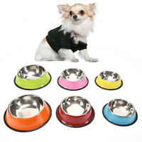Steel Home Outdoor Pets Supplies Dog Cat Water Food Dish Puppy Feeder Pet Bowl