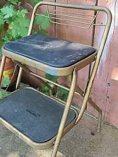 Vintage Wide Seat Durham Metal Shabby Folding Kitchen Stool Step Ladder