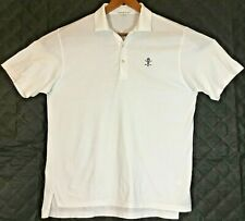 Peter Millar Mens White 1898 Embroidered Polo Golf Shirt Size Large