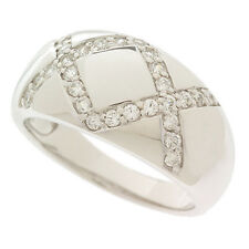 Epiphany Platinum Clad Sterling Silver Diamonique Domed X Design Ring Size 7 QVC