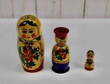 Russian Matryoshka Nesting Dolls Hand Painted Set of 3
