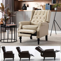 Elizabeth Leather Manual Recliner Chair Push Back Single Sofa Lounge Couch Seat