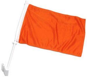 "12x15 Solid Orange Advertising Double Sided Car Window Vehicle 12""x15"" Flag (FI)"