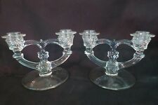 Indiana Glass Co No 370 2 Arm Candlestick with Wheel Etch