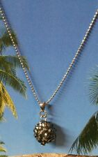 "Silver and Black Crystal Studded Ball Pendant on a 16"" Silver Tone Necklace"