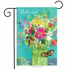 "Spring Mason Jar Garden Flag Floral Welcome Butterfly 12.5"" x 18"""
