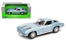 WELLY 1963 CHEVROLET CORVETTE METALLIC LIGHT BLUE 1/24-1/27 DIECAST CAR 24073