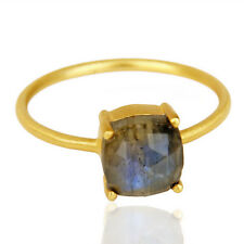 Cushion Cut Labradorite Gemstone 925 Silver Gold Plated Girls Ring Jewelry