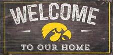 """Iowa Hawkeyes Welcome to our Home - Wood Sign NEW 12"""" x 6"""" Decoration Gift"""