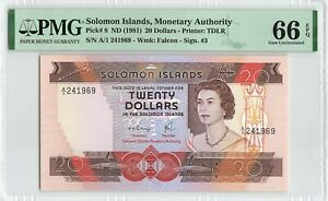 SOLOMON ISLANDS $20 Dollars 1981, P-8, PMG 66 EPQ Superb Gem UNC, A/1 241969