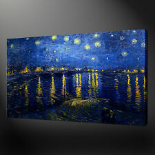 "STARRY NIGHT OVER THE RHONE VAN GOGH  20""x16"" CANVAS WALL ART PICTURES PRINTS"