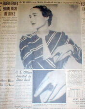 1937 Baltimore newspaper DUCHESS OF WINDSOR shows offHer Emerald engagement ring