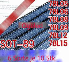 60Stk. 6Sorte Transitors smd Sot-89 Pnp  CJ 78l05 06 08 09 12 15  Spannungregler