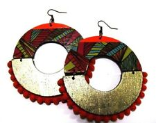 Orange Handmade Multi Color Statement Dangle Wood Earrings