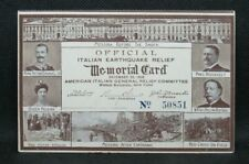 OFFICIAL 1908 Italian Earthquake Relief MEMORIAL CARD w/T Roosevelt Support