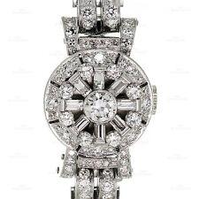 Vintage Ladies Covered Face Diamond Platinum Bracelet Watch