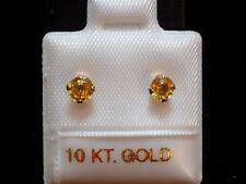 Saphir Ohrstecker - gelb/orange - 4 mm - 10 Kt. Gold 417 - Ohrringe Brillant Cut