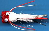 Bass Bug Fly Fishing Flies - Red / White - One Hook Size Two Fly Fishing Bass