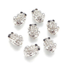 10pcs Alloy Pave Rhinestone Metal Beads Frog Platinum Tone Loose Spacer 12x8.5mm