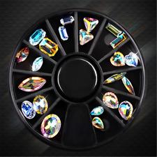 Mixed Shape Nail Art Wheel AB Rhinestone Crystal Gems Glitter 3D Tips Decoration