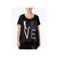 Material Girl Womens Plus Size Active Metallic T-Shirt Noir 3X