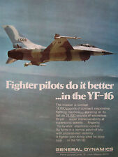 9/1974 PUB GENERAL DYNAMICS YF-16 US AIR FORCE FIGHTER ORIGINAL AD