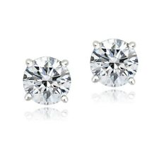 Platinum Plated Sterling Silver 100 Facets Cubic Zirconia Stud Earrings (2cttw)