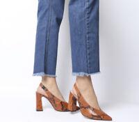 Womens Office Hihi Slingback Point Heels Orange Snake Heels