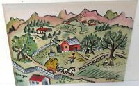 FLORYLL SMALL VINTAGE ORIGINAL WATERCOLOR TOWN LANDSCAPE FOLK PAINTING