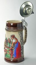 Limited Edition Collectable German Lidded Beer Stein. Hand-painted Waitress