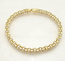 "8.5"" Mens 3D Square Railroad Bracelet Real 14K Yellow White Two-Tone Gold"