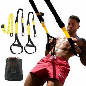 Suspension Trainer Kit Bodyweight Fitness Yellow TRX Workout Training StrapsP3-3