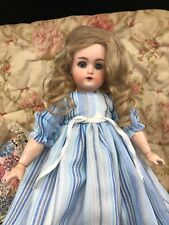 Vintage Antique Doll Bisque China Wax Small Blue Dress White Stripes Composition